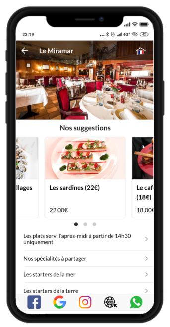 Your menu available to your customers, without application and in their favorite languages.