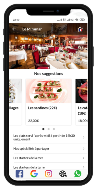 Su menú accesible a sus clientes, sin aplicación y en sus idiomas favoritos.